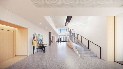 A rendering of the new Concordia Music Center's lobby area