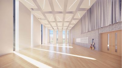 A rendering of the new band/choir room in Concordia's music center